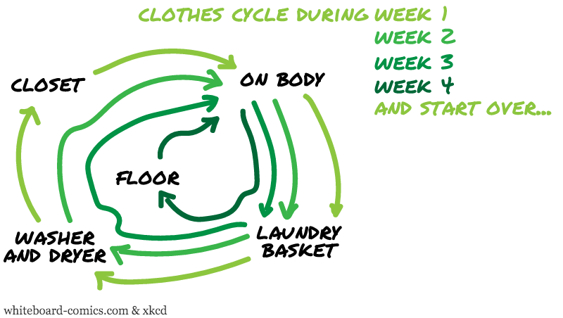 Clothes worn → in basket → washed → in closet